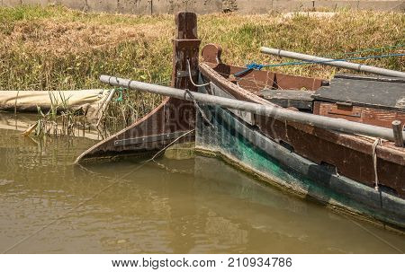 submerged part of the steering boat rudder blade, rudder primary control surface to steer old wooden boat, cane and rudder, shovel of the rudder blade