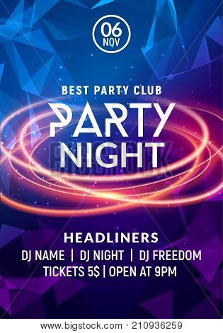 Night dance party music night poster template. Electro style concert disco club party event flyer invitation.