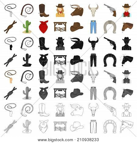 Rodeo set icons in cartoon design. Big collection of rodeo vector symbol stock illustration