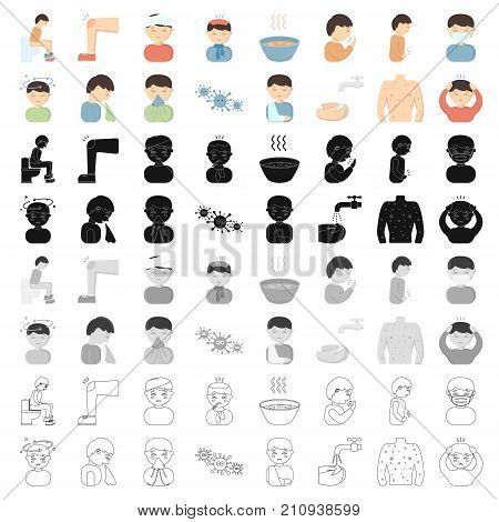 Sick set icons in cartoon style. Big collection of sick vector symbol stock