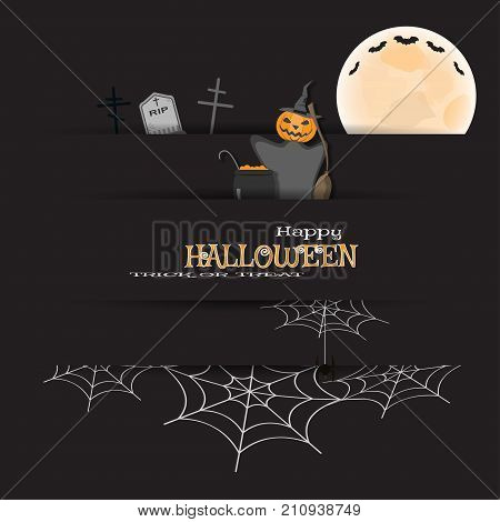 Vector dark gray paper poster with slots for Halloween holiday with full moon flock of bats magician with a broom cauldron with a potion gravestone on the background with spider nets.