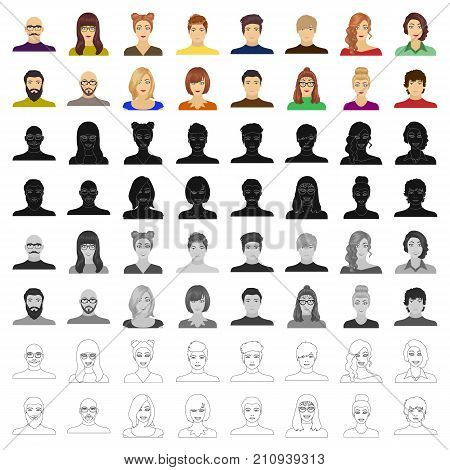Appearance of the girl in glasses, a guy with a hairdo, a bald man with a beard and other varieties of face. Faces and appearance set collection icons in cartoon style vector symbol stock illustration . poster
