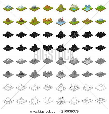 Mountains, rocks, lighthouse, volcano and other land reliefs. Mountains and landscapes set collection icons in cartoon style isometric vector symbol stock illustration .