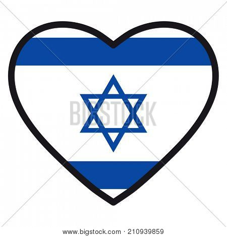 Flag of Israel in the shape of Heart with contrasting contour, symbol of love for his country, patriotism, icon for Independence Day.