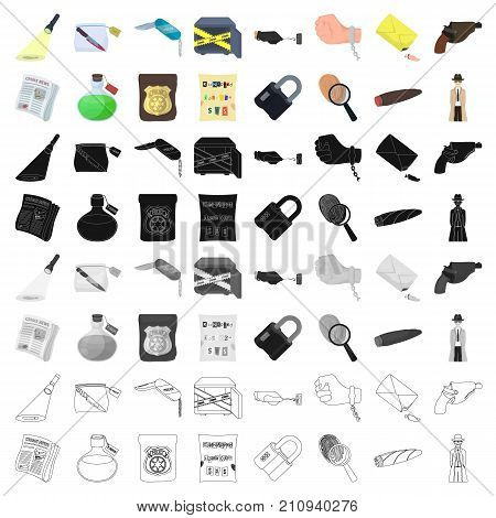 A detective, a pistol in a holster, a police badge, a magnifying glass and a fingerprint, criminal news and other attributes. Detective and crime set collection icons in cartoon style vector symbol stock illustration .