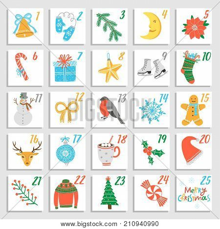 Vector Christmas advent calendar. Poster design template