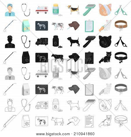 Veterinary clinic set icons in monochorme design. Big collection of veterinary clinic vector symbol stock illustration