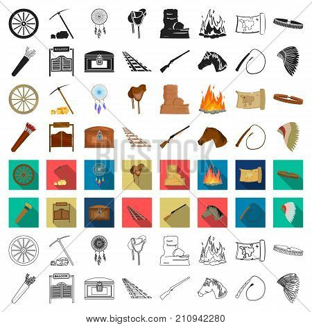 Wild west set icons in cartoon style. Big collection of wild west vector symbol stock