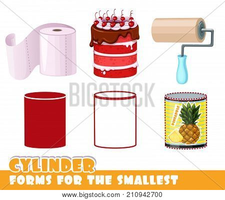 Forms For The Smallest. Cylinder And Objects Having A Cylinder Shape On A White Background Developin