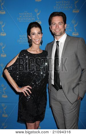 LOS ANGELES - JUN 17:  Michael Muhney & wife arriving at the 38th Annual Daytime Creative Arts & Entertainment Emmy Awards at Westin Bonaventure Hotel on June 17, 2011 in Los Angeles, CA