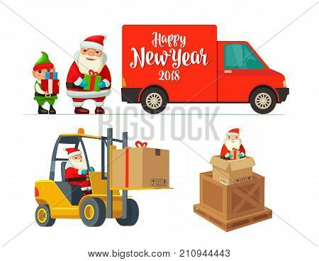 Logistic Santa Claus and elf with a gift. Forklift carries a box. Red delivery van. Flat vector color illustration for poster New Year and Merry Christmas