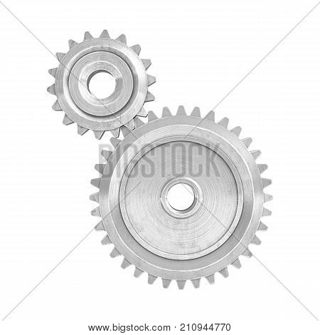 3d rendering of a two metal gears of different size connected to each other on a white background. Gear box parts. Increasing and reduction gear. Machinery parts.