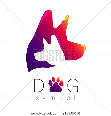 Dog logo vector. Violet pink yellow tren gradient. silhouette pet. Paw symbol. Label for web, clinic, shop, medical, care, logotype. Creative company concept. Identity style 2018 year of Dog