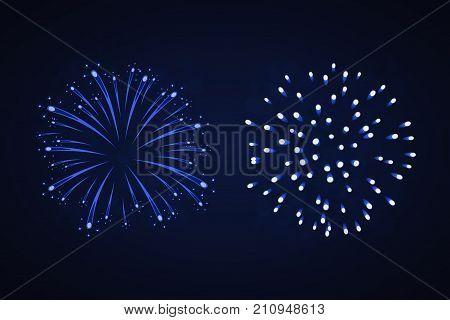 Beautiful Bright Fireworks Set Isolated On Black Background