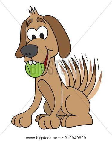 Eager cartoon dog with ball is ready to play