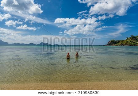 Scenic View Of The Twin Beach In El Nido, Palawan, Philippines
