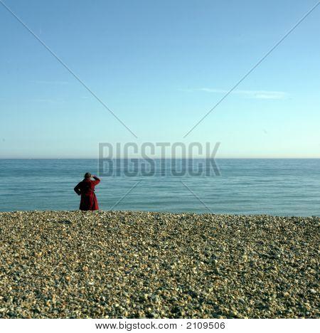 Sea Sky Beach Red Coat