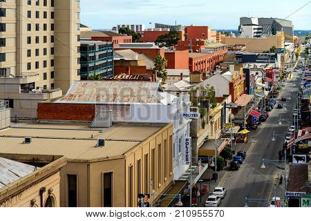 Adelaide Australia - August 27 2017: Rundle street top view looking towards west in Adelaide city centre on a day