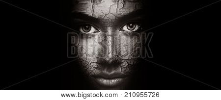 Dry skin concept. Woman with cracked peeling face texture