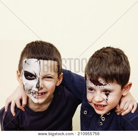 zombie apocalypse kids concept. Birthday party celebration facepaint on children dead bride, scar face, skeleton together having fun halloween copyspacce