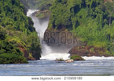 Murchison Falls also known as Kabalega Falls is a waterfall between Lake Kyoga and Lake Albert on the Victoria Nile River in northern Uganda.