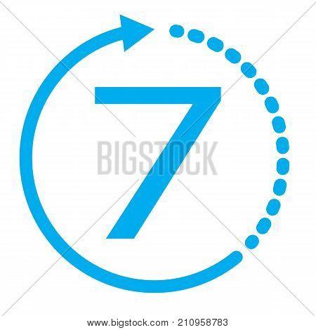 return of goods within 7 days icon. 7 days on white background. blue seven days service icon. warranty exchange symbol.