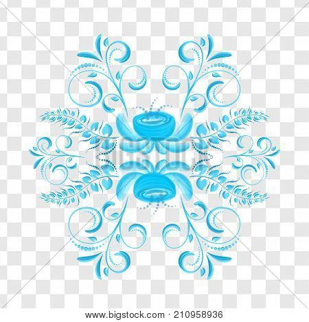 Traditional Russian gzhel floral pattern. Art drawn blue vintage ethnic pottery. Russia ornate decor frame. National souvenir retro vector illustration folk textile graphic. Curl background