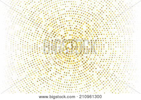 Abstract futuristic halftone pattern. Comic background. Dotted backdrop with circles, dots, point small scale. Design element for web banners, posters, cards, wallpapers, sites. Gold, golden glitter