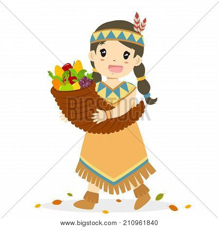 Native American girl carrying a cornucopia full of fruits and vegetables. Thanksgiving Native American girl character cartoon vector.