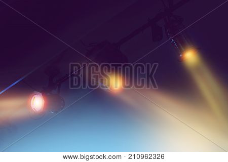 spotlights for the stage at a event in dark background