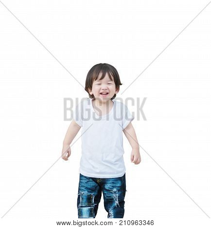 Closeup happy asian kid with smile face isolated on white background with clipping path