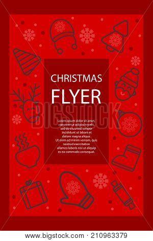 Christmas poster. Christmas card, flyer, invitation with icons - deer, tree, santa. Stock vector