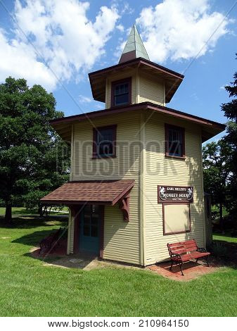 Centrerville, Ohio, United States-July 16, 2017:  A timber hexagonal building build in 1930 by Edwin Earl Miller to hold monkeys to attract  customers to his general store