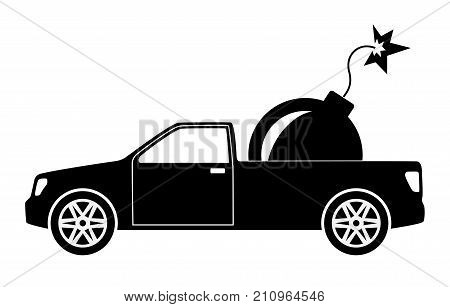 Terrorist car with bomb. Terrorism threat concept. Vector illustration.