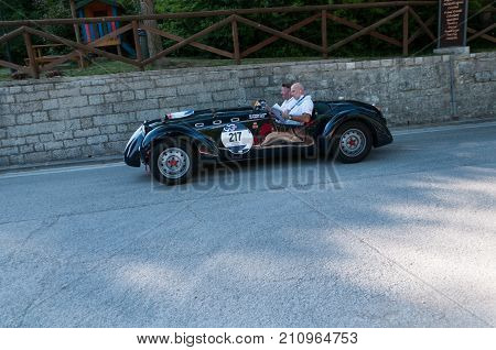 GOLA DEL FURLO, ITALY - MAY 19: HEALEY 2400 SILVERSTONE E-TYPE 1950 on an old racing car in rally Mille Miglia 2017 the famous italian historical race (1927-1957) on May 19 2017