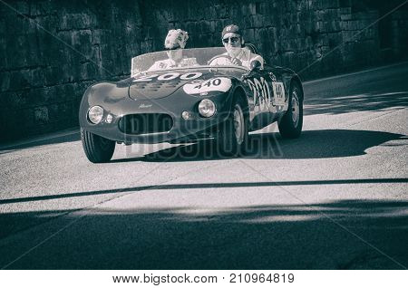 PESARO, ITALY - MAY 15  - 2017 : STANGA 750 S 1956 old racing car in rally Mille Miglia 2015 the famous italian historical race 1927-1957 on May 15 2015