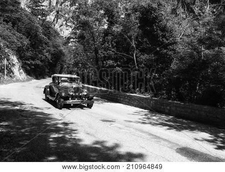 PESARO, ITALY - MAY 15 - 2017 : CHRYSLER 72 SPORT 1927 old racing car in rally Mille Miglia 2015 the famous italian historical race 1927-1957 on May 15 2015