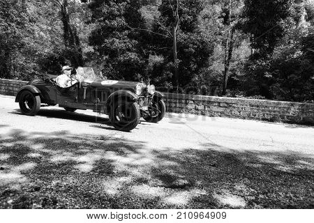 GOLA DEL FURLO, ITALY - MAY 19 2017: ALFA ROMEO 6 1500 MM 1928 on an old racing car in rally Mille Miglia 2017 the famous italian historical race (1927-1957) on May 19 2017