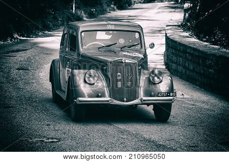 GOLA DEL FURLO, ITALY - MAY 19: LANCIA APRILIA 1500 1949 on an old racing car in rally Mille Miglia 2017 the famous italian historical race (1927-1957) on May 19 2017