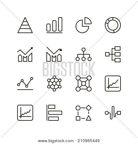 Chart icon set. Collection of high quality outline graph pictograms in modern flat style. Black diagram symbol for web design and mobile app on white background. Graphic line logo.