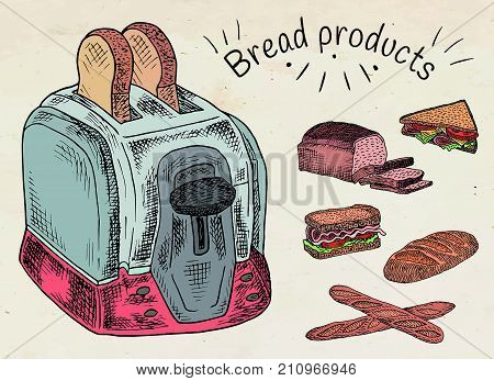 Bread products. Best choice for breakfast. Toaster and bread.