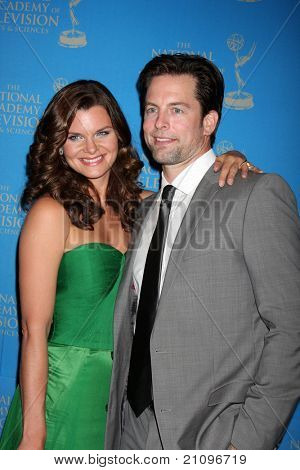 LOS ANGELES - JUN 17:  Heather Tom, Michael Muhney arrive at the 38th Annual Daytime Creative Arts & Entertainment Emmy Awards at Westin Bonaventure Hotel on June 17, 2011 in Los Angeles, CA