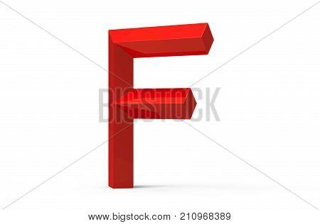 3D Render Red Beveled Alphabet F