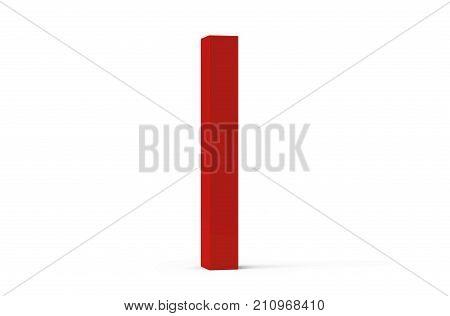 3D Render Red Beveled Alphabet I