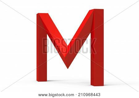 3D Render Red Beveled Alphabet M