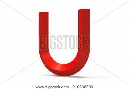 3D Render Red Beveled Alphabet U