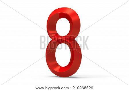 3D Render Red Beveled Number 8