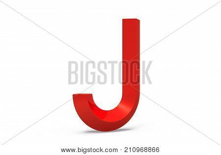 3D Render Red Beveled Alphabet J