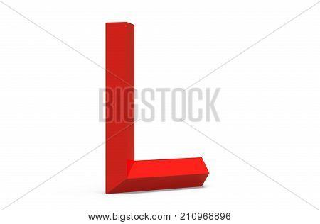 3D Render Red Beveled Alphabet L