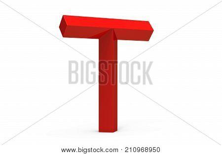 3D Render Red Beveled Alphabet T